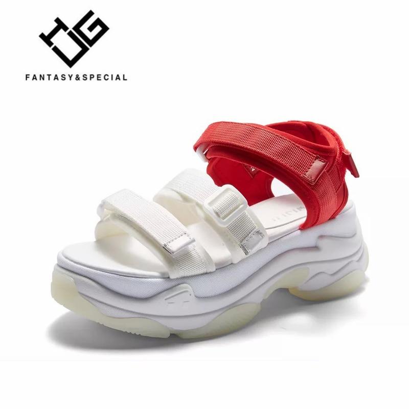 Ete Ugi Noir Chaussures D'été 2018 Femmes Dames Coins Femme De Sandales Plage En Cuir Respirant blanc Véritable pO4qpxw