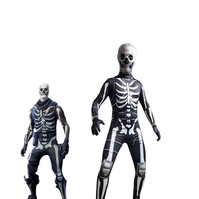 Game Battle Royale Skull Trooper Skin Jumpsuit Halloween Carnaval Cosplay Costumes Character Clown For Kids Bodysuit Boys Girls