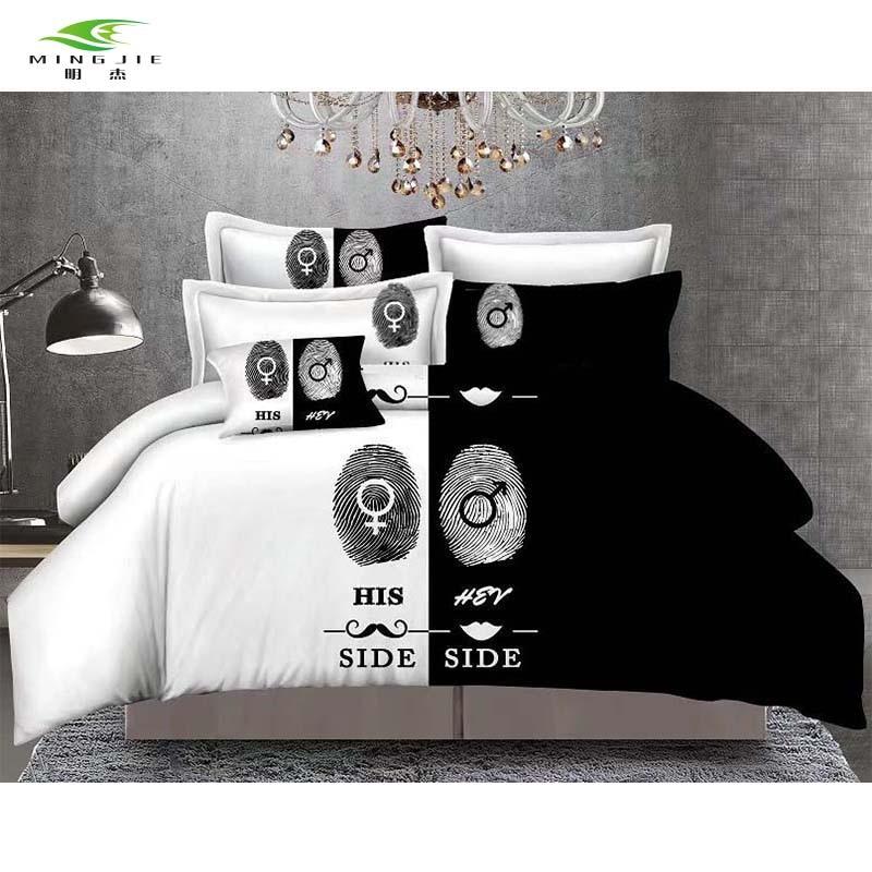 Új ágynemű fekete-fehér lány oldala ujjlenyomat ágynemű szett - Lakástextil