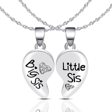 fashion silver color crystal rhinestone heart big sis little pendant necklace for women sister jewelry gifts