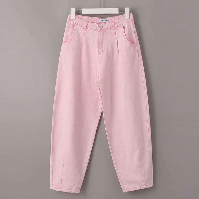 Toppies Woman Baggy Jeans Pink Harem Pants Loose Trousers 2021 Summer Women Leisure Pants Korean style Streetwear Wide Cut 5