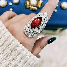 SINLEERY роскошные длинные кольца с большими синими, красными и черными кристаллами для женщин серебряного цвета с кубическим цирконием Свадебные преувеличенные ювелирные изделия JZ561