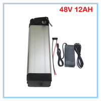 700W Silver fish 48V lithium battery 48V 12AH electric bicycle battery with Aluminium case 54.6V 2A charger 15A BMS