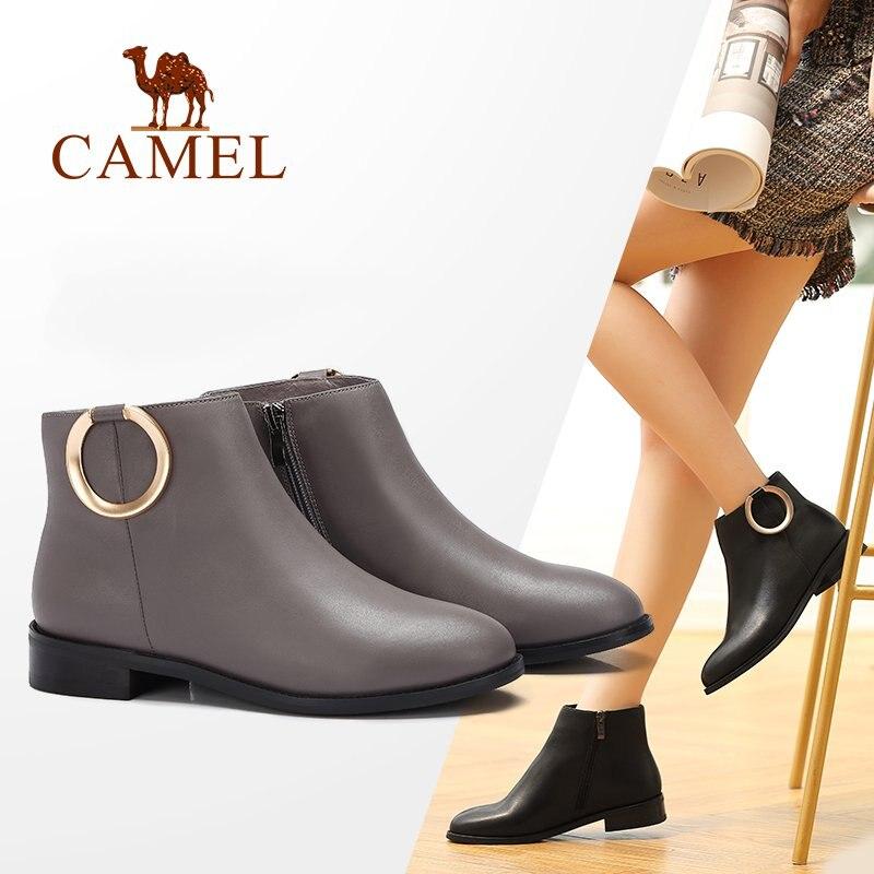 New stivaletti Fashion pelle Martin Shoes Cammello Flat Nero le signore caviglia Donna Casual per Zipper Comfot alla in grigio Low Bukle wdIwq5p