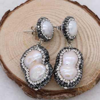 5f50d4bf5f8f Perla Natural druzy pendientes colgantes Perla Barroca pavé cz pendientes  de gota perla redonda 925 tachuelas de plata joyería de Gema retro 415