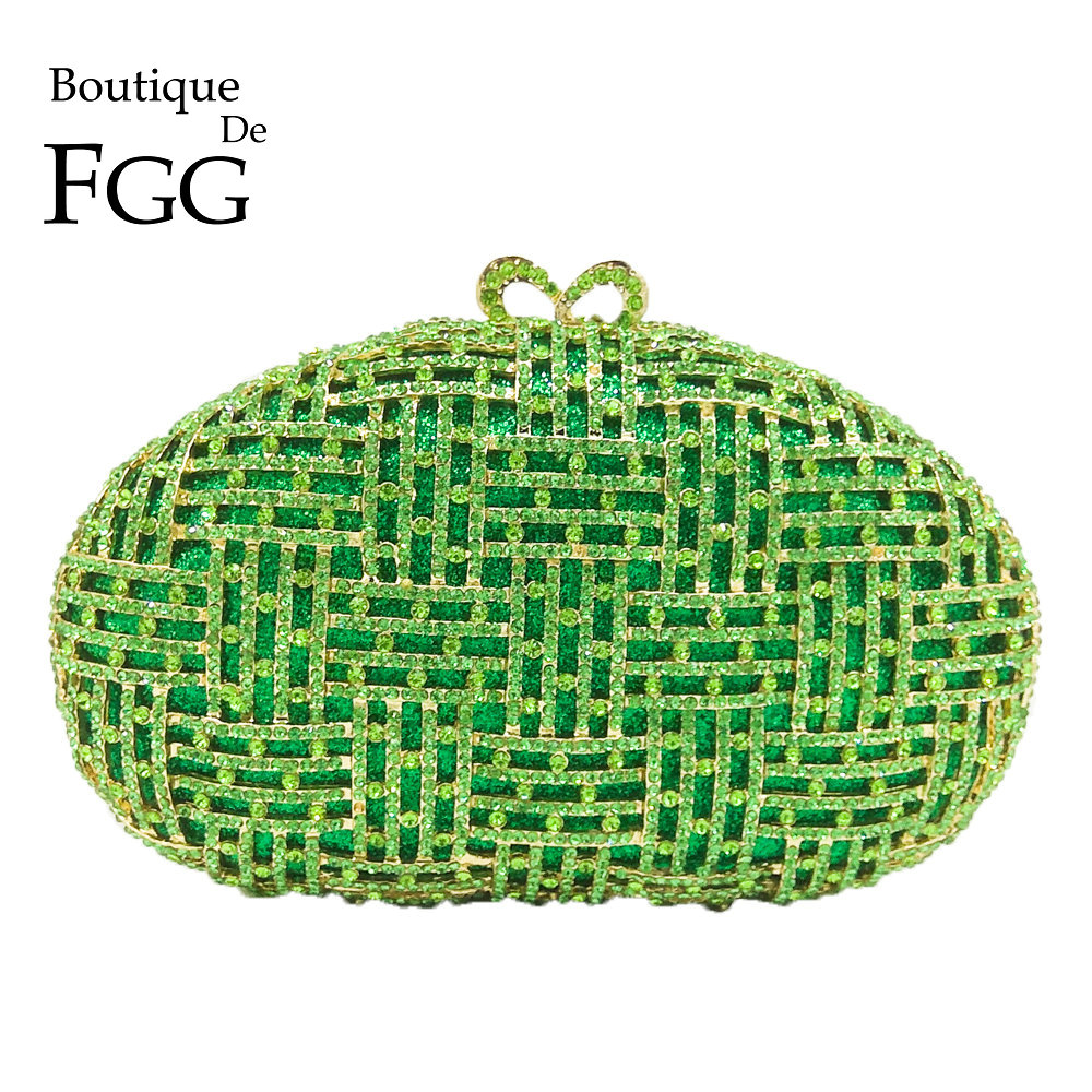 Boutique De FGG Sparkling Green Diamond Plaid Hollow Out Women Crystal Clutch Evening Bag Wedding Dinner Cocktail Handbag Purse цена