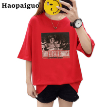 M-2XL Plus Size Spring Summer Print Dover Street Market Women T Shirt Casual Half Sleeve O Neck T-shirt Ladies Red White TShirt