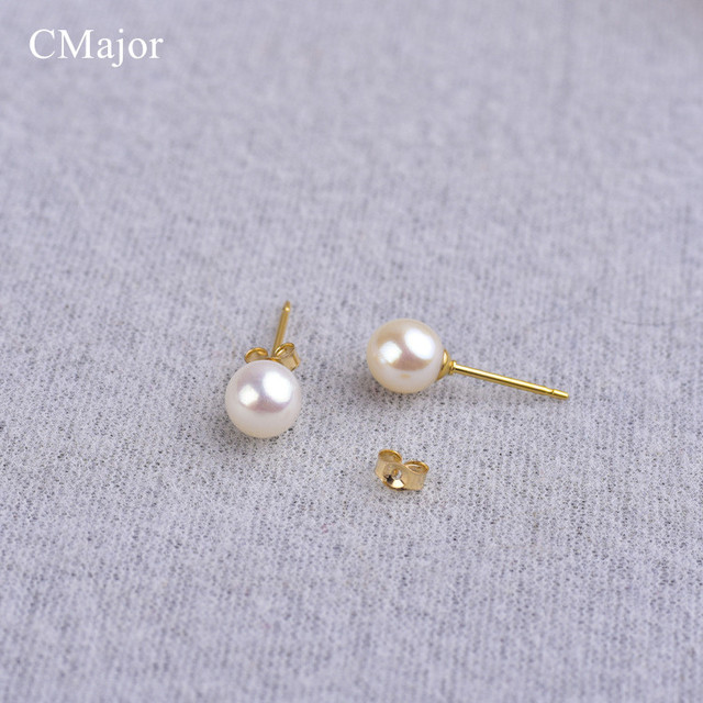 Cmajor Anti Allergy Gold Filled Stud Earring Perfect Round Natural Pearl Earrings For Women Simple