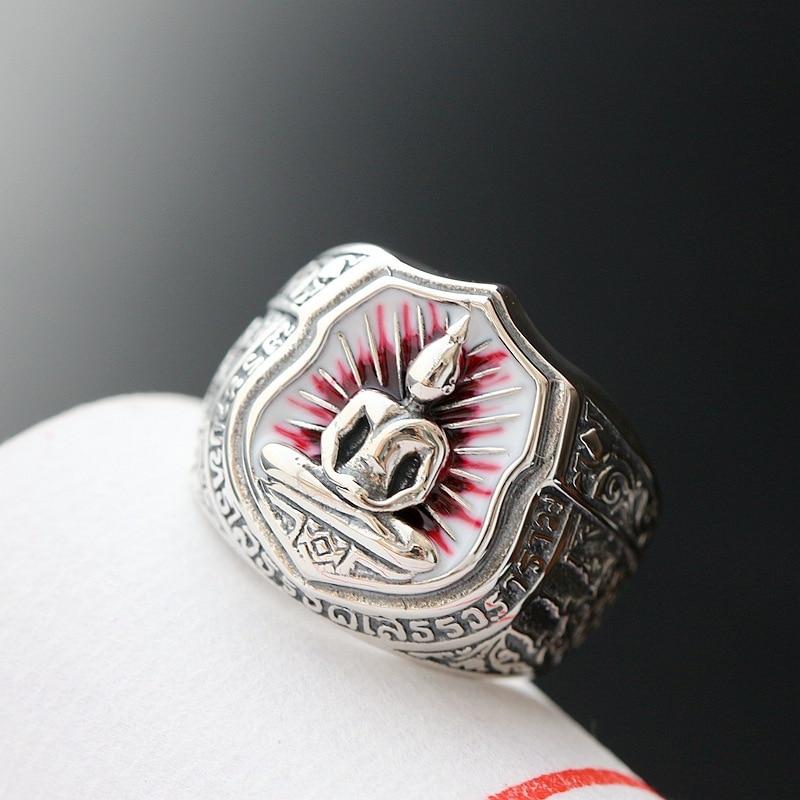 все цены на 925 sterling silver ring finger ring retro Silver Ring Silver Buddha
