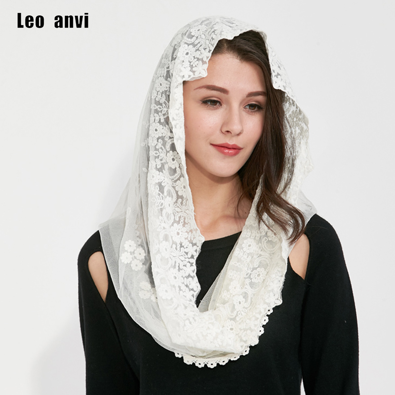 Leo anvi lace women ring scarf tube novelty headscarf Flowers fashion foulard femme connton bonnet winter magic apparel scarf