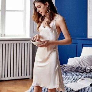 Image 2 - ローブセット女性ブランド春の新セクシーなシルクスリング寝間着ツーピース夏の氷の絹のバスローブパジャマ女性 X9201