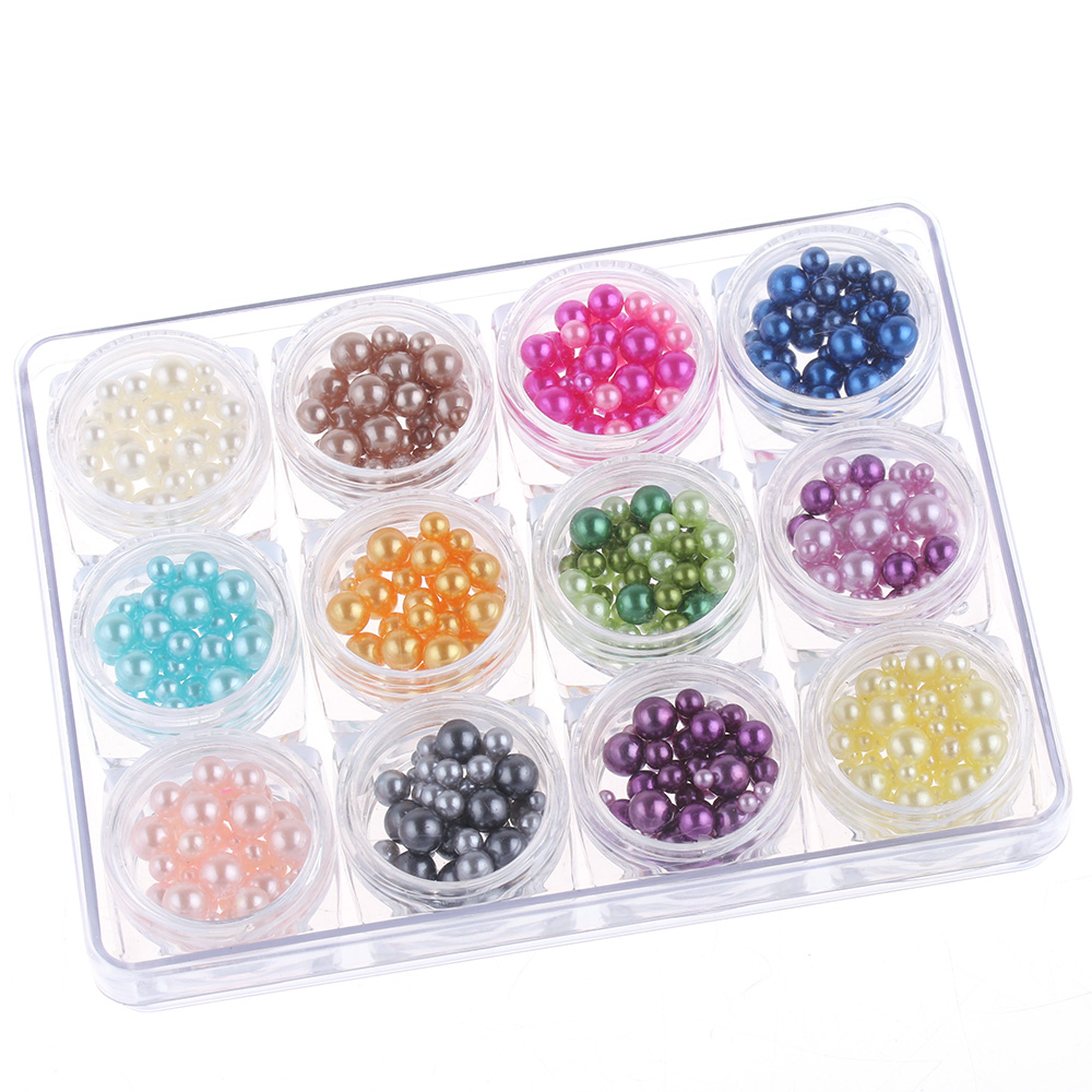 12colors set 3d pearls nail art tips glitter acrylic for Acrylic nail decoration supplies