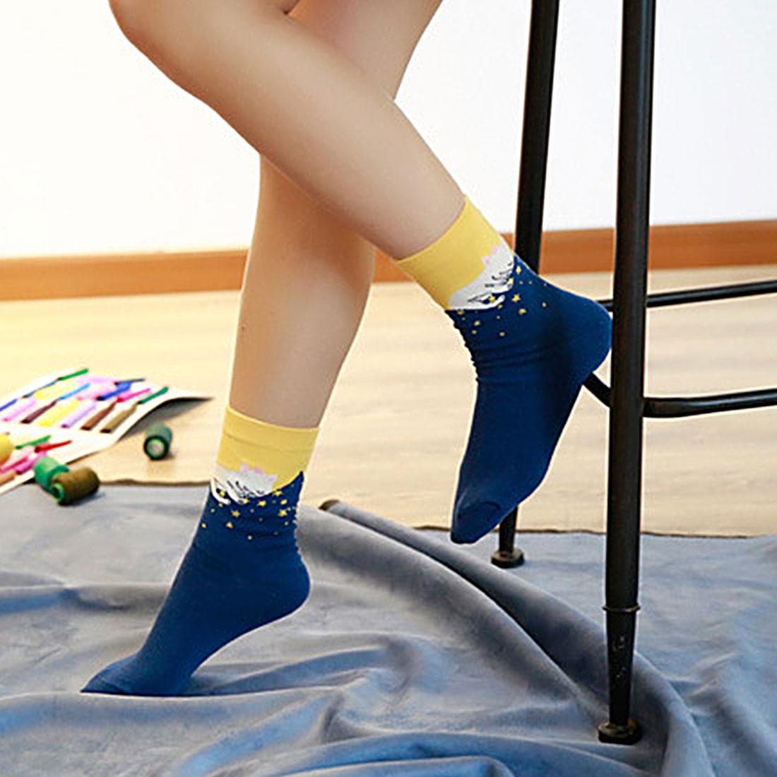 Hot 5 pairs/lot Multicolor Cute Cat Socks Harajuku Animal Design Women's Casual Comfortable Cotton Crew Socks Christmas