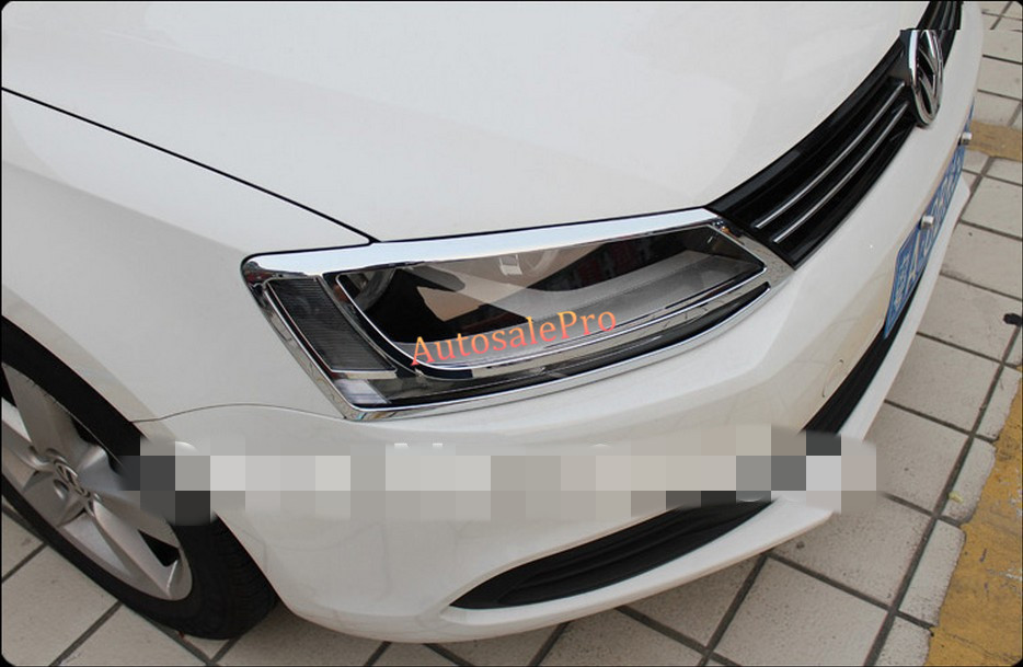 ABS Chrome Front Head Light Headlight Lamp Cover Trim For Volkswagon VW Jetta 6 Mk6 2010 2011 2012 2013