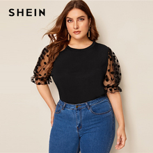 SHEIN размера плюс черный швейцарский из сетчатой ткани в горошек с длинными рукавами Однотонная футболка Для женщин летние Повседневное половина с буфами на рукавах контрастная сетчатая рубашка с круглым вырезом
