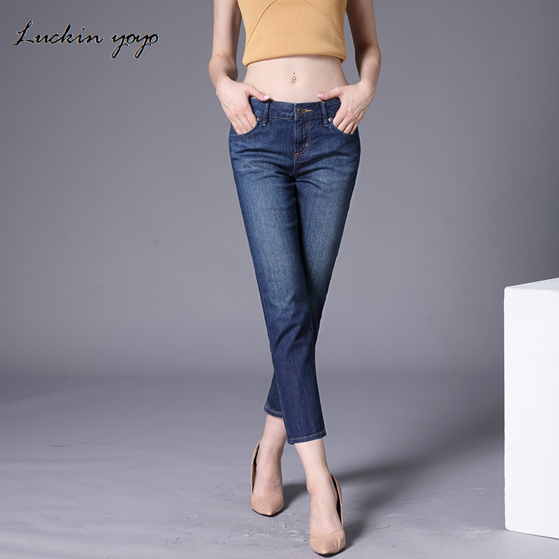 Women Casual Jeans High Waist Ankle Length Jeans Vintage Blue Mom Jeans Fashion Slim Jeans Women