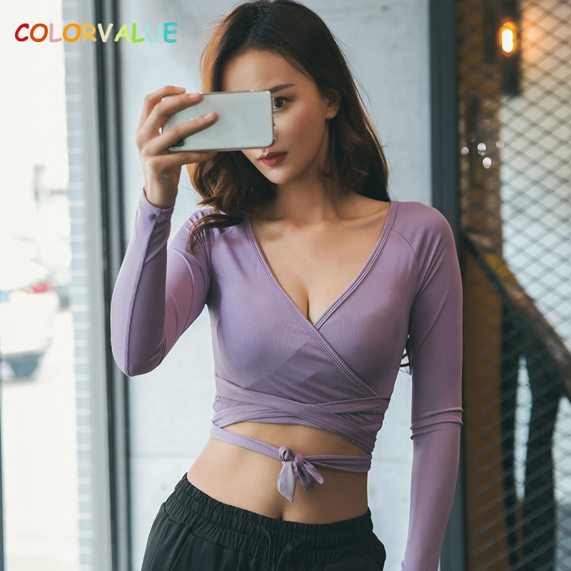 Colorvalue Sexy V-Neck Dance Ballet Crop Top Women Cross Lace-up Fitness Gym Shirts Long Sleeve Solid Yoga Workout Top Sportwear pink off shoulder shirred bodice lace up crop top