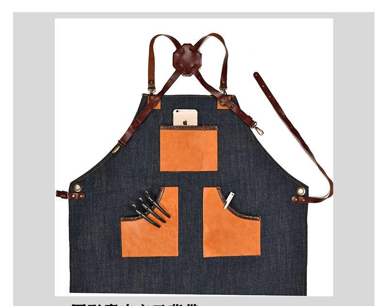 Delantal de cocina de mezclilla con correa de algodón ajustable grandes bolsillos azul Barista hombres y mujeres ropa de casa - 3