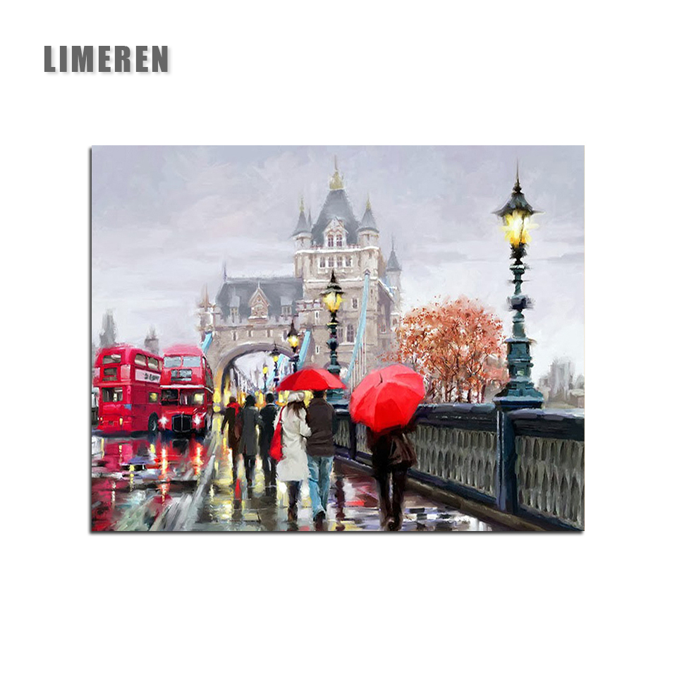 Oil painting By Number London Street Lovers Abstract Coloring Paint By Number Decorative Acrylic Printed Canvas Painting Picture