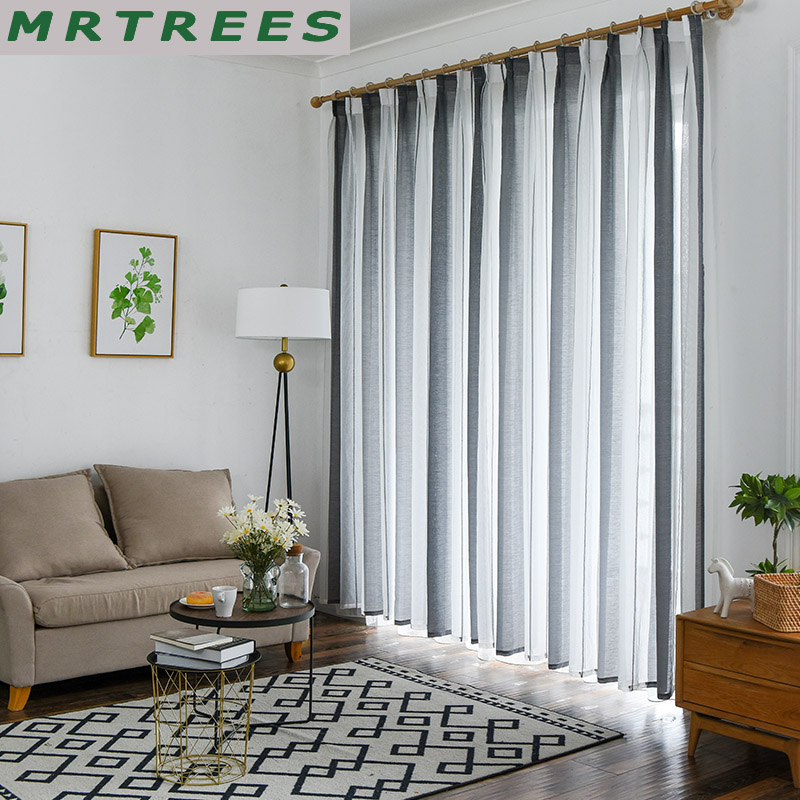 Linen Stripe Kitchen Curtains: Linen Stripe Sheer Curtains For Living Room The Bedroom