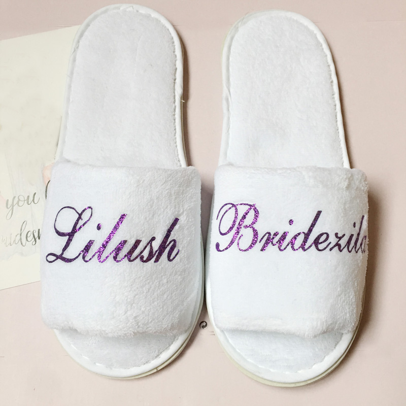 Wedding Night Gift For Bride: 5pairs Lot Personalized Velvet Wedding Bride Bridesmaid