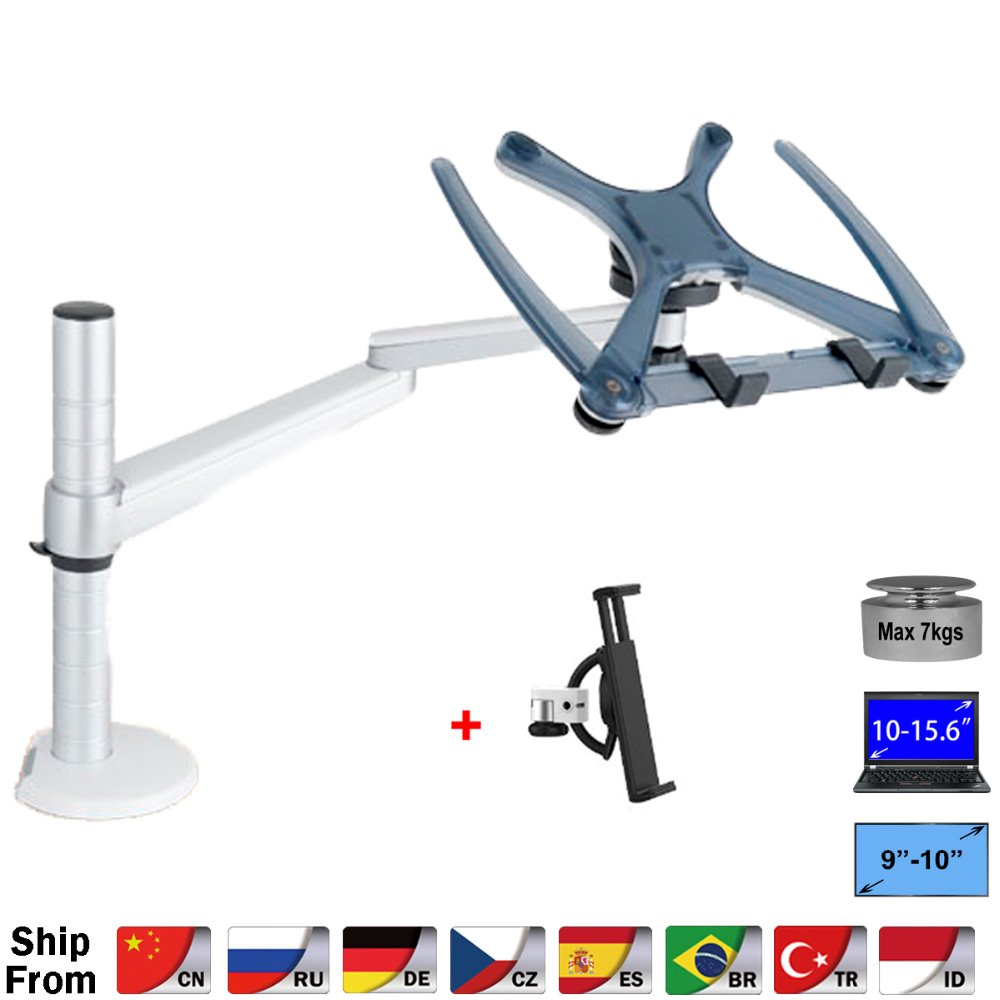 360 Rotation Aluminum Alloy 2 in 1 Tablet PC Holder + Laptop Stand Holder Dual Arm Office Desktop Lapdesk Bracket OA 1S-in Laptop Stand from Automobiles & Motorcycles