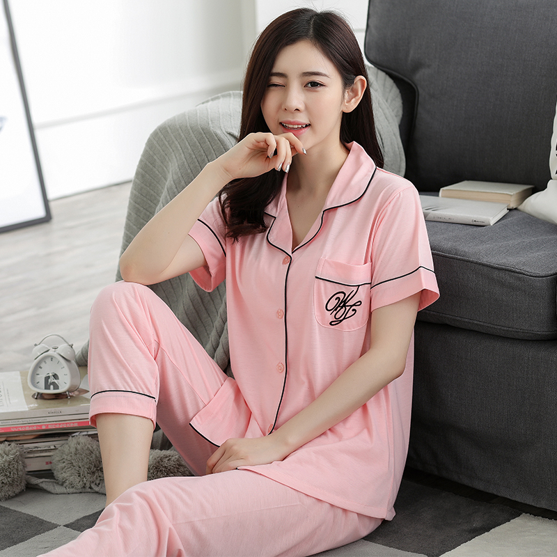 Fashion Women Lovely Wear Leisure 2020 Summer Short Sleeved Women Pajamas Set Long Pant Pyjamas Sets Cotton Leisure Sleepwear