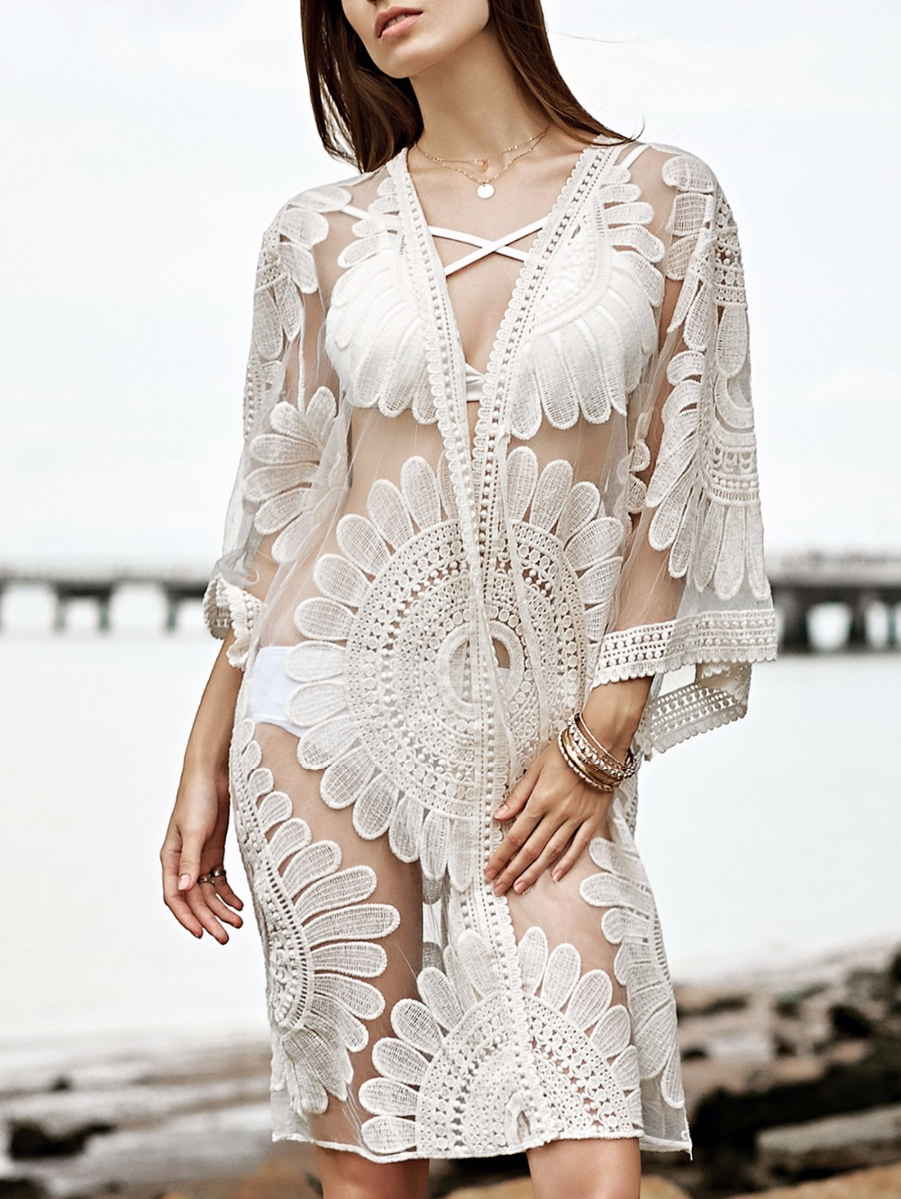 2017 Beach Cardigan Bathing Suit Cover Ups Beach Cover Up Floral Embroidery Bikini Cover Up Swimwear Women Robe