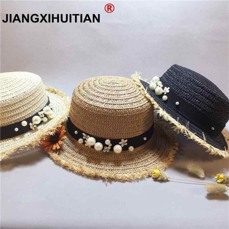 b0b551ef69fc5 Lady Boater sun caps Ribbon Round Flat Top girls Straw beach hat Panama Hat  summer hats