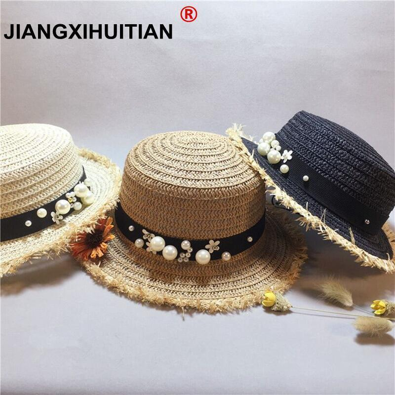 abb0d819bb1 Detail Feedback Questions about Lady Boater sun caps Ribbon Round Flat Top  girls Straw beach hat Panama Hat summer hats for women straw hat snapback  gorras ...
