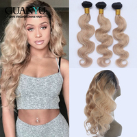 Guanyuhair 360 Lace Frontal With 3 Bundles Peruvian Body Wave Remy Human Hair Weave Ombre #1B/27 Honey Blonde