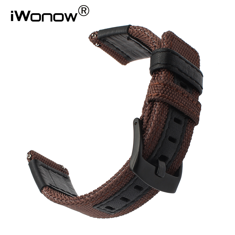 все цены на Canvas Nylon + Genuine Leather Watchband 24mm for Sony Smartwatch SW2 Suunto TRAVERSE Watch Band Quick Release Strap Wrist Blet онлайн
