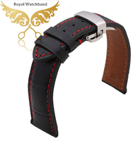 Watch Band 18mm 20mm 22mm High Quality Black Genuine Leather Watch Band Strap Silver Steel Butterfly