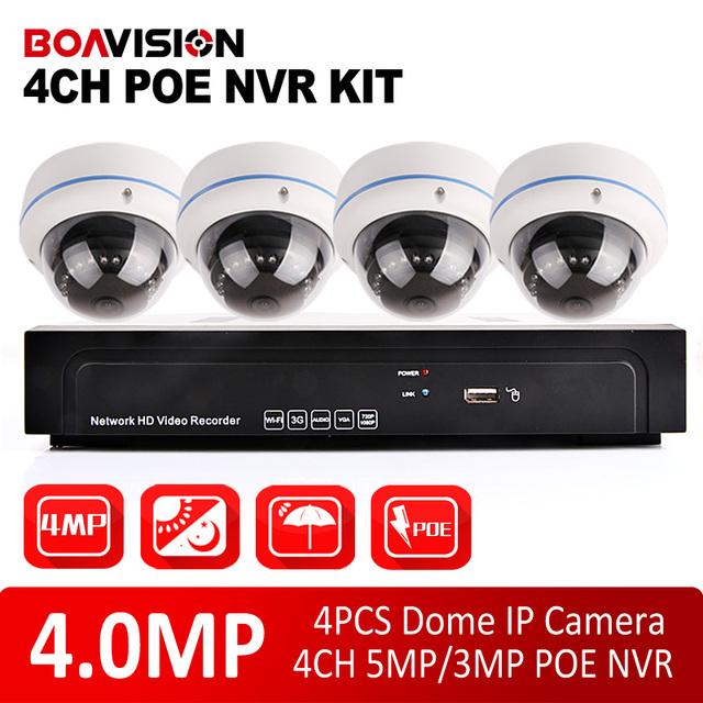 4CH POE NVR Kit 4MP 4.0MP Câmera Dome IP NVR Sistema de Vigilância À Prova de Intempéries Ao Ar Livre Sistema de CCTV Gravação de Vídeo CMS/P2P Vista