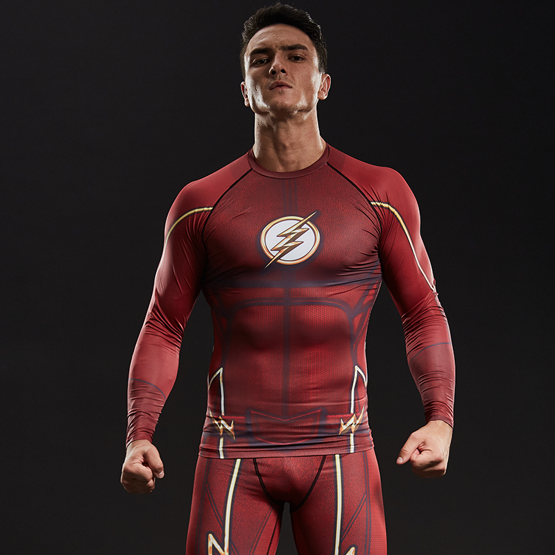 DC The Flash Costume Cosplay Compression Tights Quick-Drying T-shirt Tops
