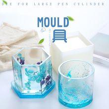 Silicone Mold DIY Pen Holder Epoxy Resin Tools Desk Organizer Decoration Storage Stationary Molds Jewelry Making Unique