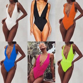One Piece Swimsuit 2019 Sexy Deep-V Swimwear Women Swimsuit Cut Out Bathing Suits Beach Wear Swim Maillot de Bain Monokini