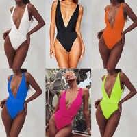Maillot de Bain une Pièce 2019 Sexy Deep-v maillots de Bain femmes Maillot de Bain Découpé Maillots de Bain Vêtements de Plage Natation Maillot de Bain Monokini