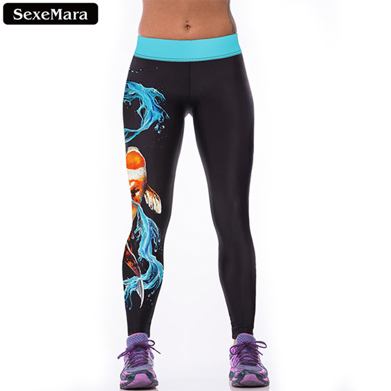 SexeMara Markdown Sale Water Dragon Carp Leggings Women Chinese Style Printed Leggins  Youth Fitness Sexy Slim Pants F1520