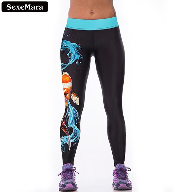 SexeMara Markdown Sale Water Dragon Carp Leggings Women Chinese Style Printed Leggins  Youth Fitness Sexy Slim Pants F1520