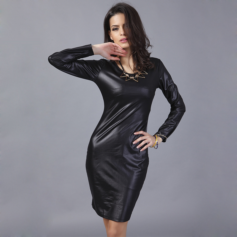 Long Sleeve Leather Dress Pu Bandage Women Black Office Dress