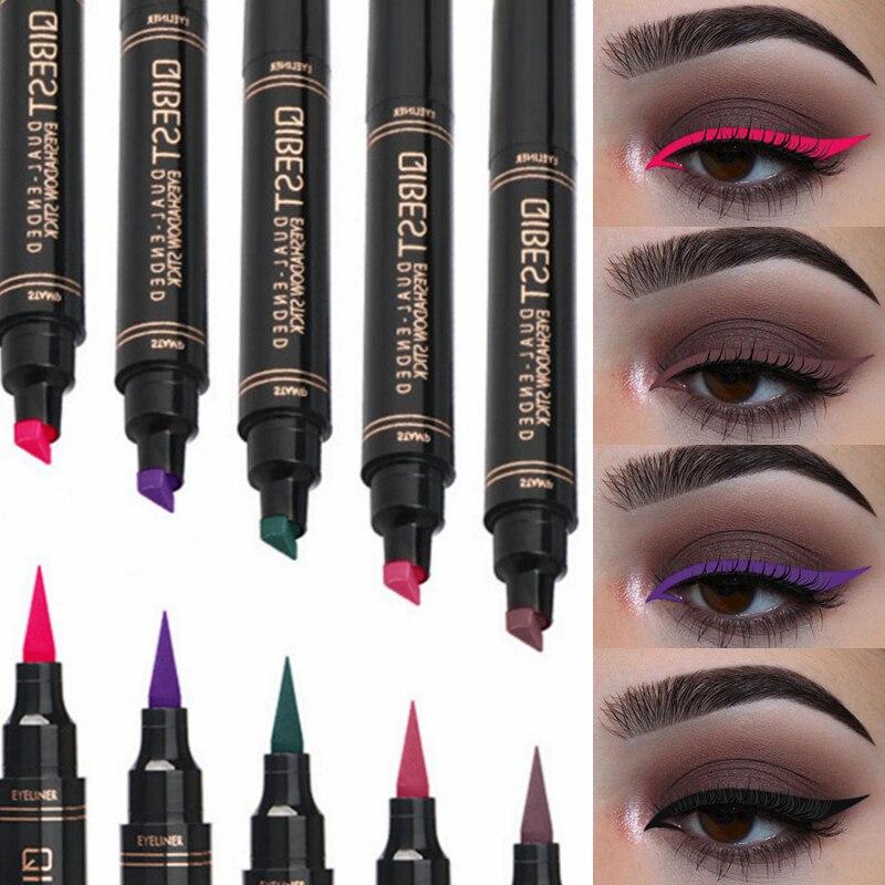 Reasonable 12 Color Eyeliner Stamp Pencil Waterproof Long-lasting Natural Eye Liner Matte Liquid Black Red Purple Green Seal Eyes Makeup Beauty Essentials Eyeliner