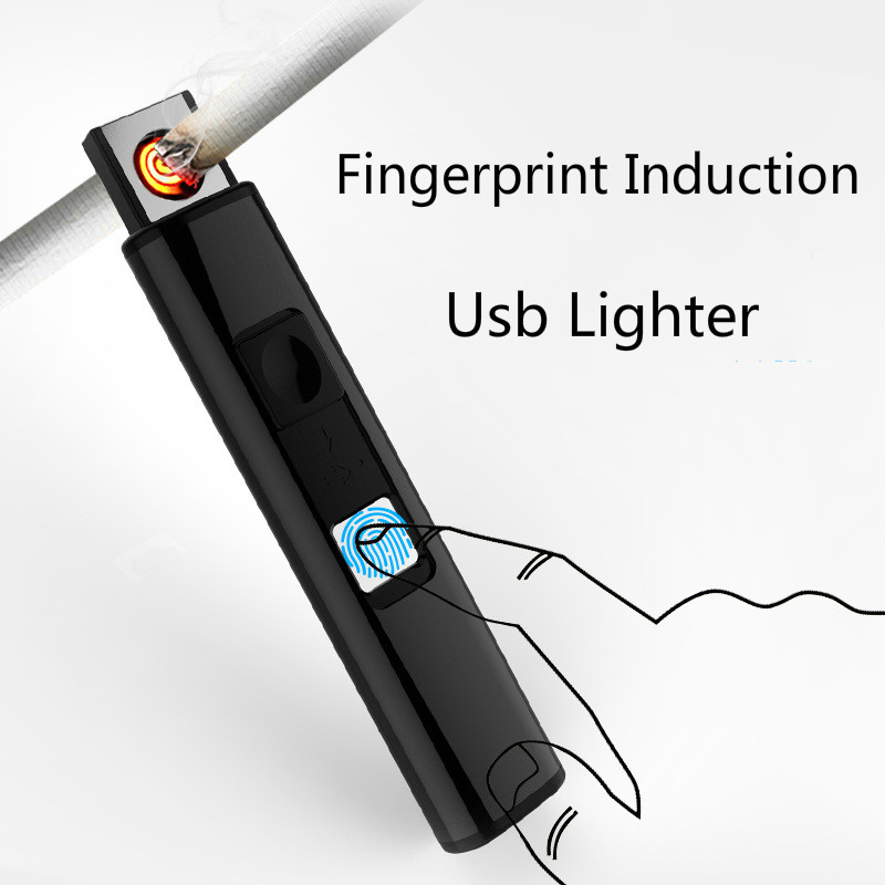 Metal Windproof Fingerprint Touch Sensor Rechargeable USB Charging Electric Cigarette Lighter Plasma for Smoking Tobacco Pipe