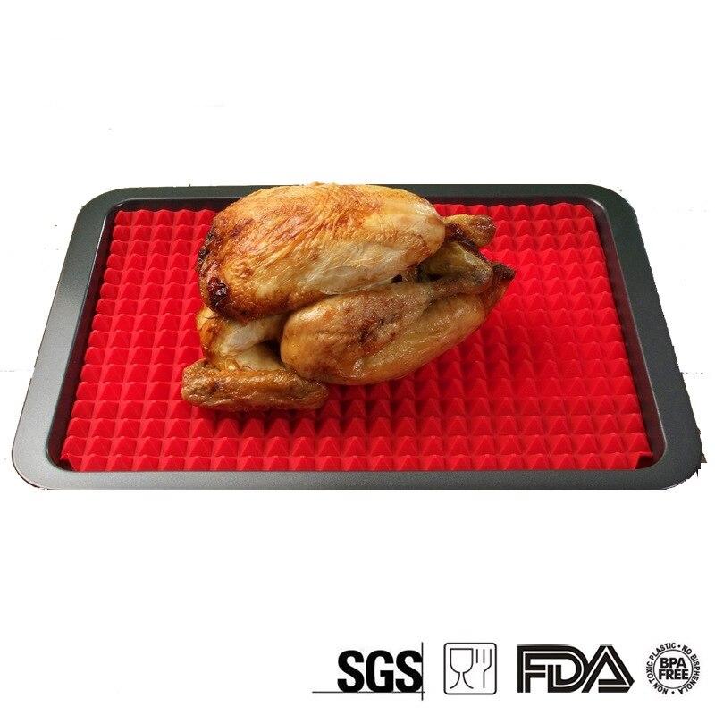 1ks Pyramida Pečení BBQ Pan Nonstick Silikonové pečící podložky Podložky Formy Vaření Podložka na pečení Pečení plechu Kuchyňské nářadí
