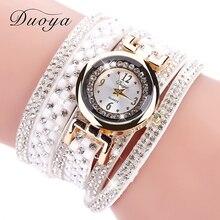 DUOYA Fashion Luxury Women Gold Watches Casual Bracelet Wristwatch Fabric Rhinestone Strap Quartz Ladies Wrist Watch Clock