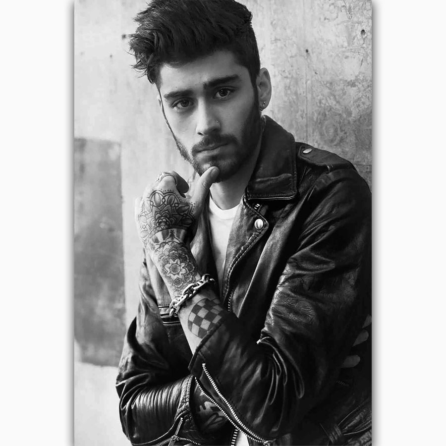 Mq1286 zayn malik custom pop music singer star black white hot art poster silk light canvas