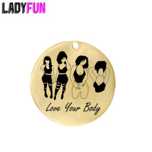 Ladyfun Customizable Stainless Steel Charm Love Your Body Pendant Black Afro Women Charms For DIY Jewelry Making