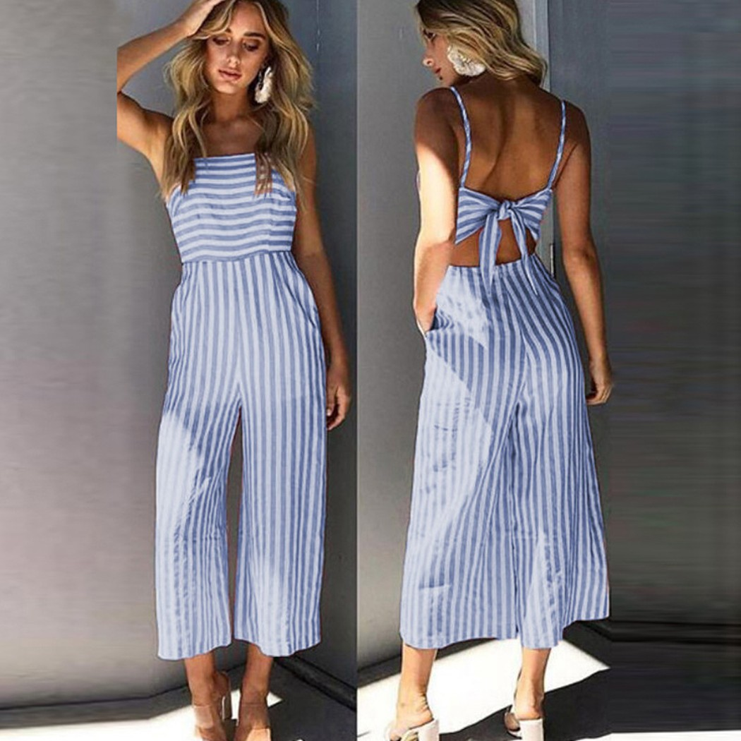 2018 Elegant Women Ladies Strap Backless Vertical Striped Holiday Jumpsuit Playsuits Bow Back Overalls Party Beach Sexy Romper