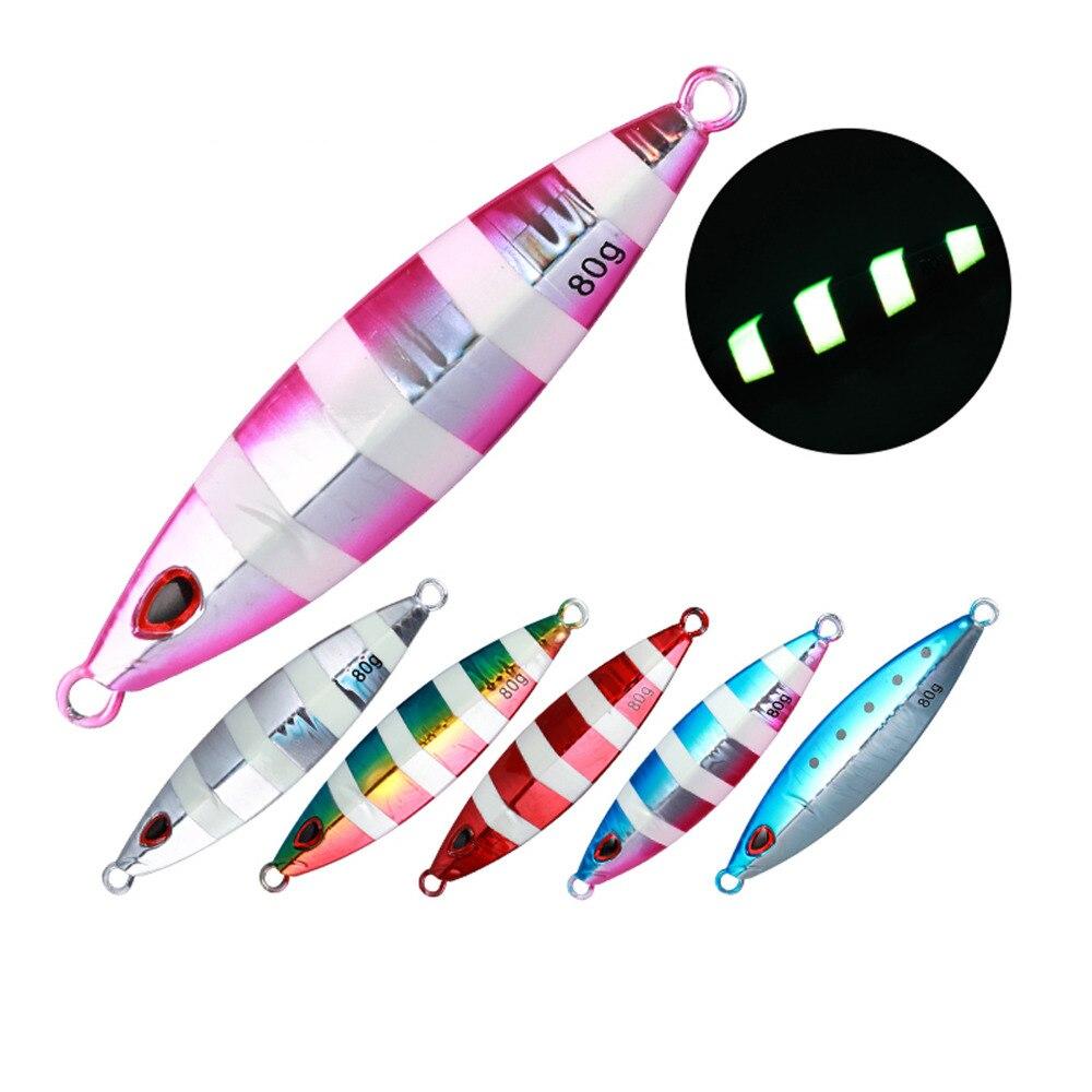 5PCS Glow Slow Jigging Metal Jig Deep sea Night Fishing Jigging Lure Jigbait spoon baits 40g 60g 80g 100g 150g 200g