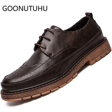 цены 2019 new fashion men's shoes casual leather male lace up classic brown black shoe man work brogue oxfords shoes for men hot sale